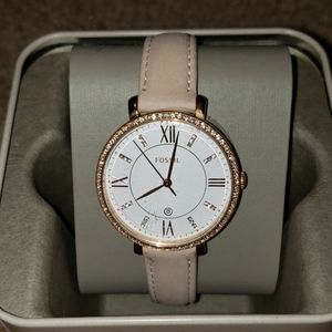Fossil Jacqueline 3 hand date blush leather watch